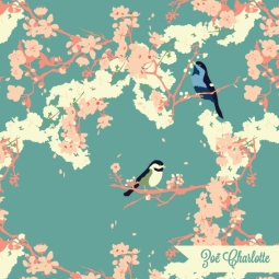 Inspired by a Japanese garden in spring, nothing says 'spring has sprung' more than two love birds in a blossom-laden tree. This is part of my Kyoto in Spring collection.