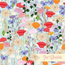 A field of wildflowers is encapsulated in this colourful pattern