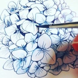 Hand-painting motifs for my watercolour hydrangea pattern