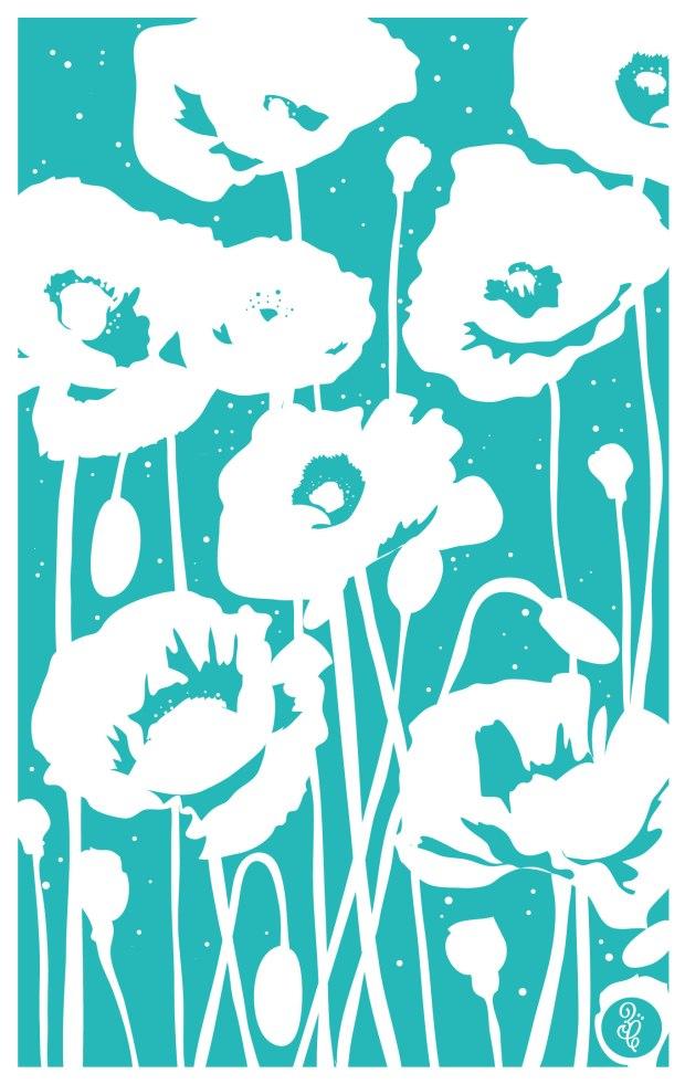 poppies-mono-teatowel-aqua