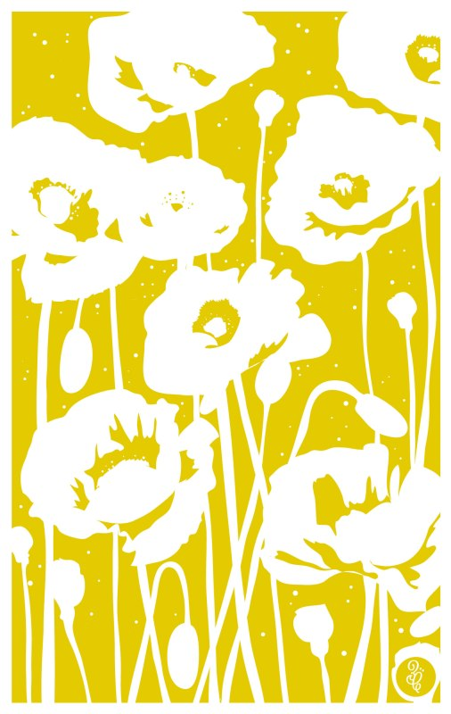 Monochromatic tea towel design - Poppies