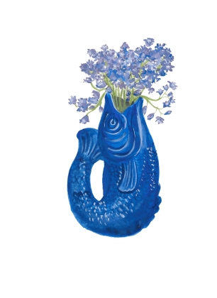 Fish vase and bluebells watercolour and gouache